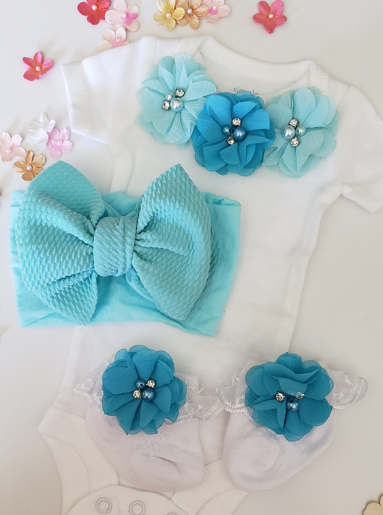White and Aqua 3 Piece Onsie Set Including Flower Headband and Matching Party Socks Hand Made
