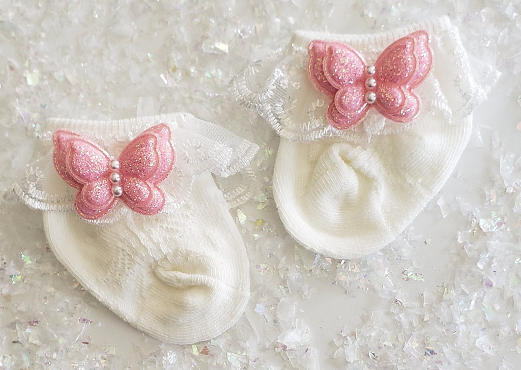 Newborn or Preemie Ivory Party Socks with Light Pink Butterflies
