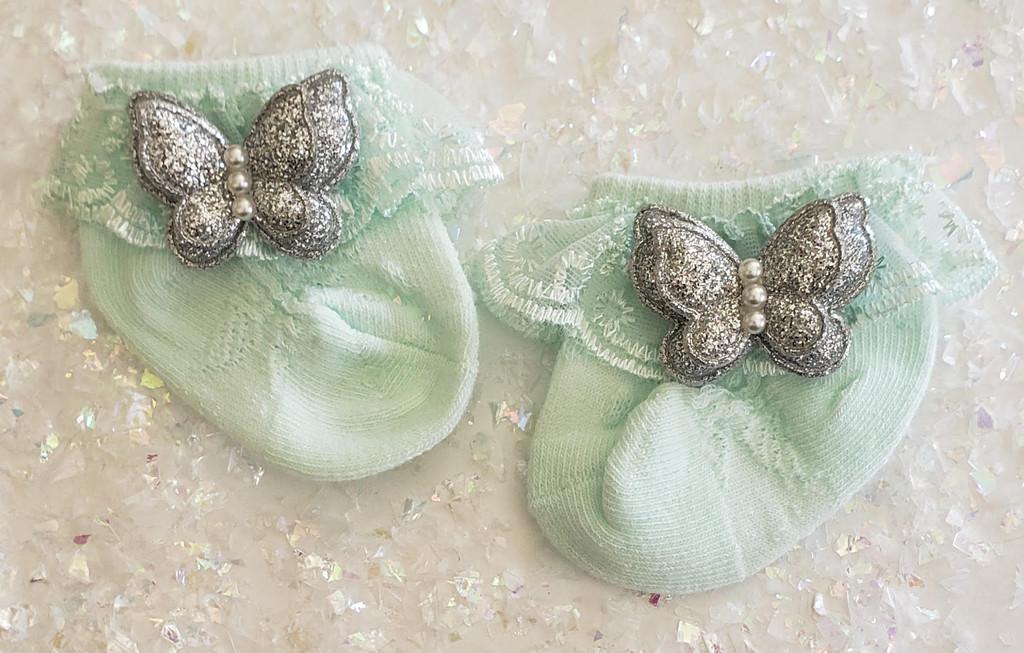 Newborn or Preemie Mint Party Socks with Silver Butterflies