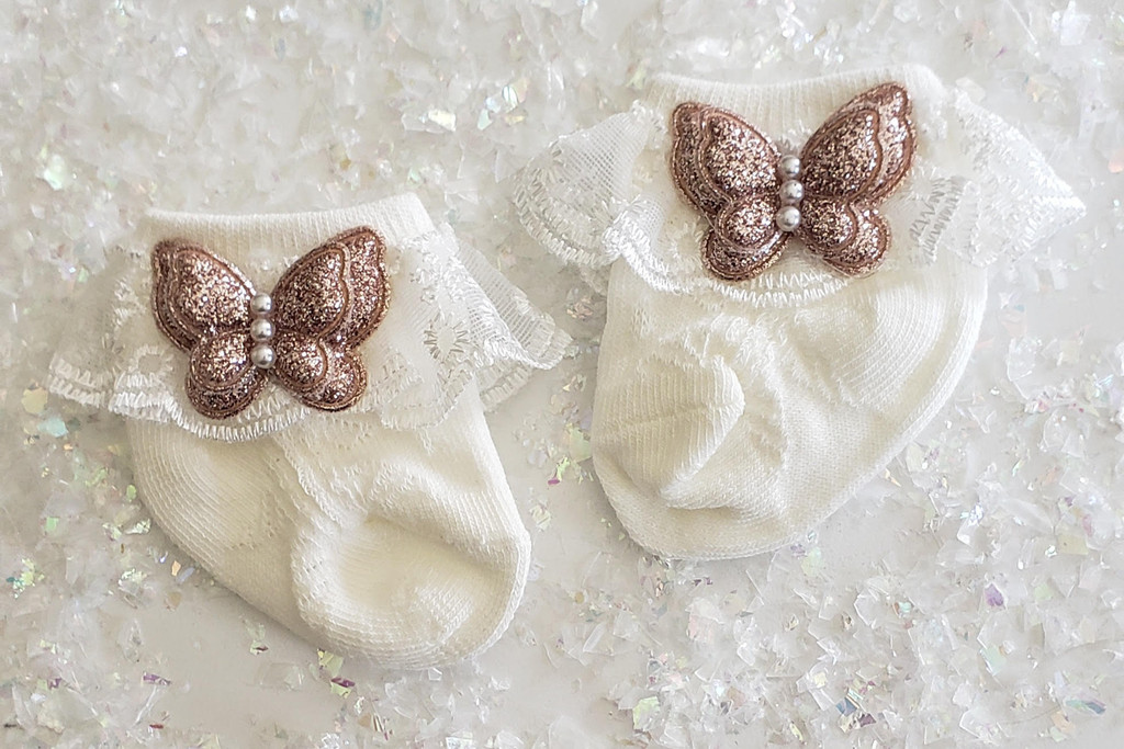 Newborn or Preemie White Party Socks with Rose Gold Butterfiles