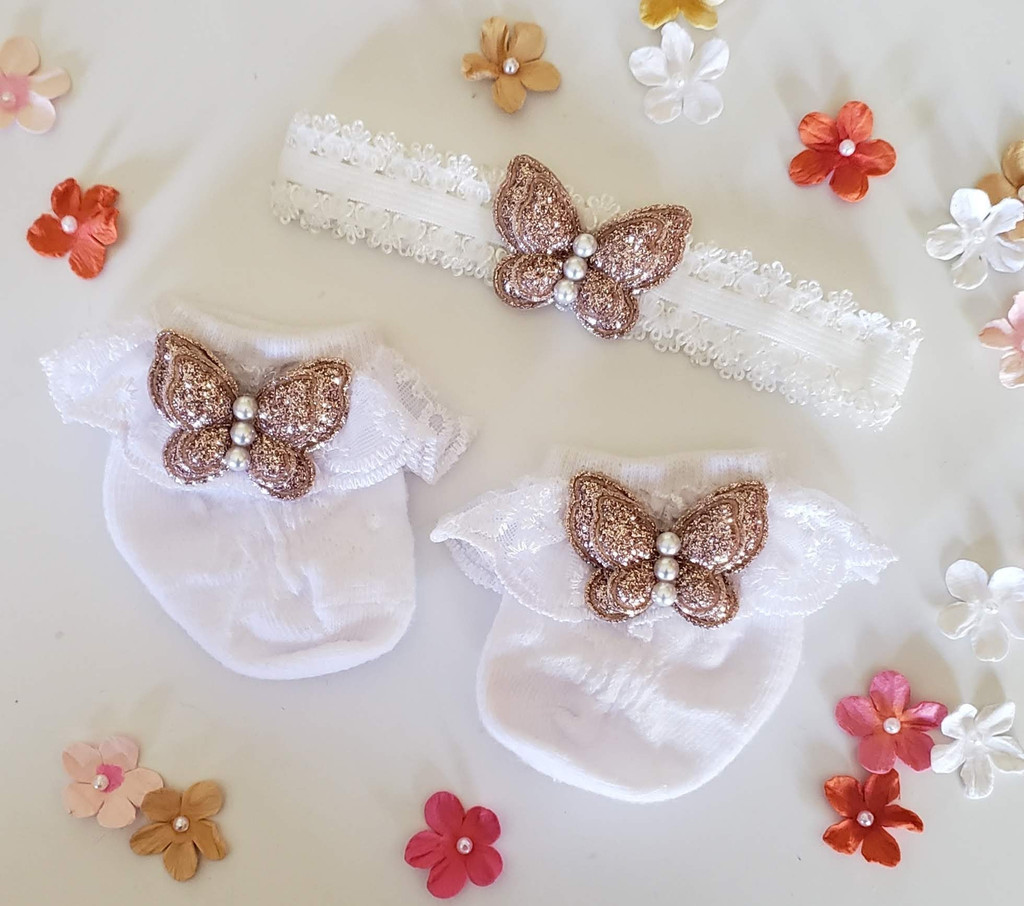 Newborn or Preemie White Party Socks Set with Rose Gold Butterfiles + Headband