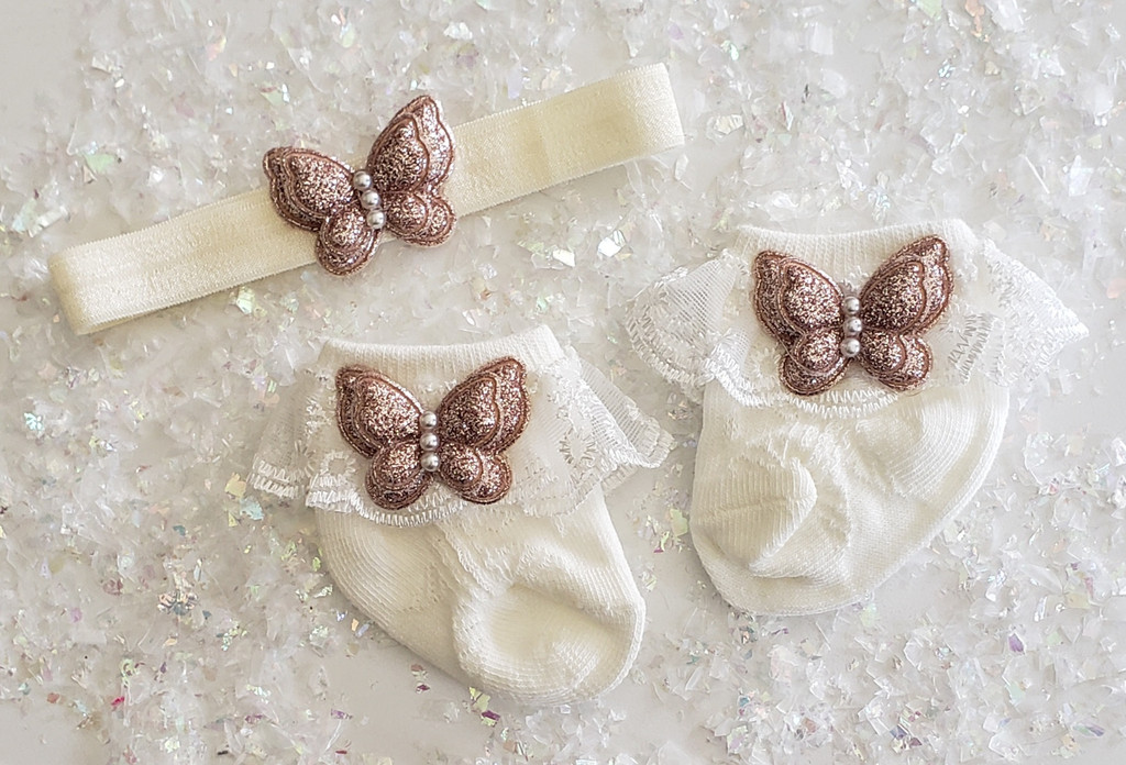 Newborn or Preemie Ivory Party Socks Set with Rose Gold Butterflies + Headband