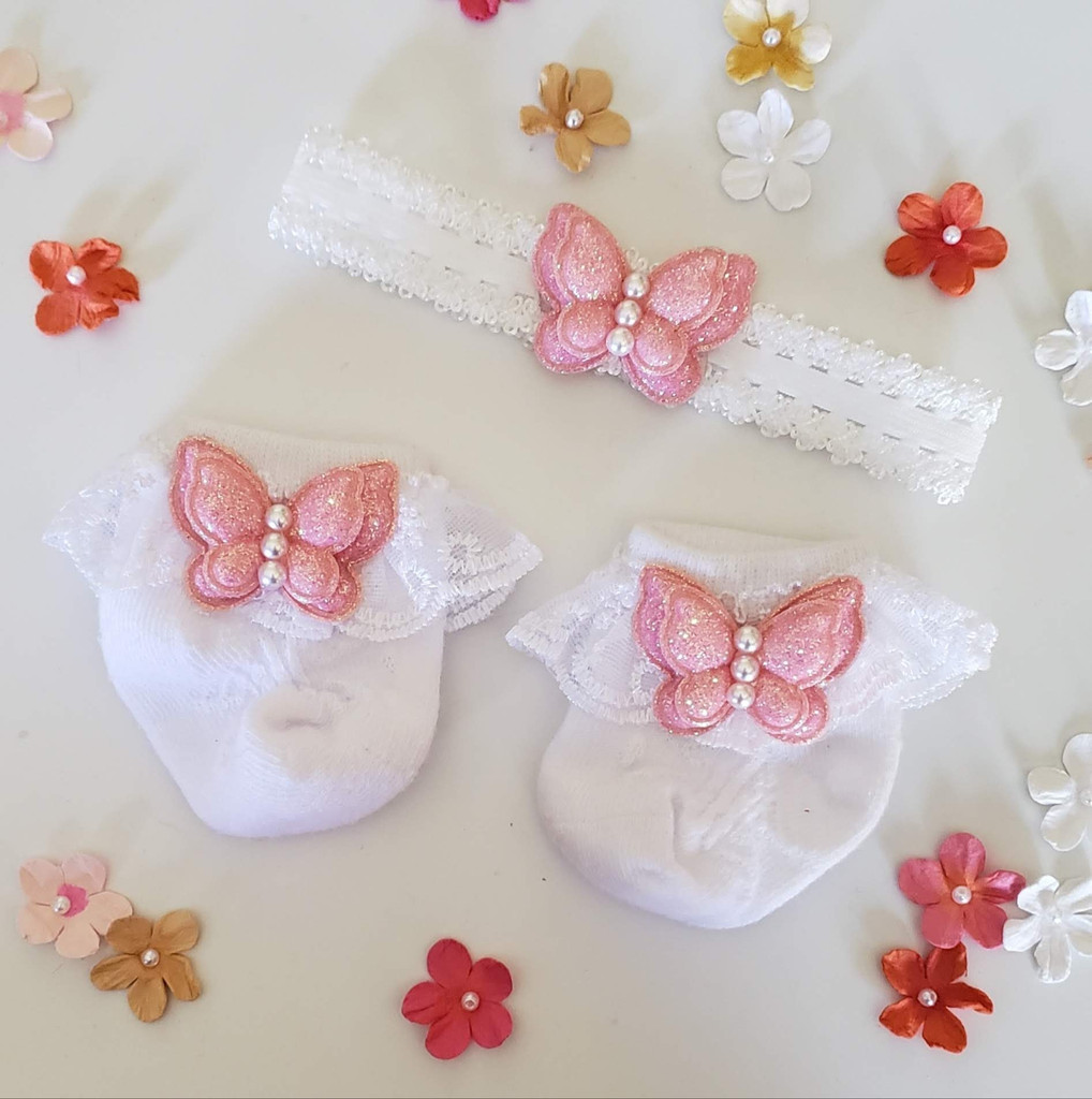 Newborn or Preemie White Party Socks Set with Pink Butterfiles + Headband