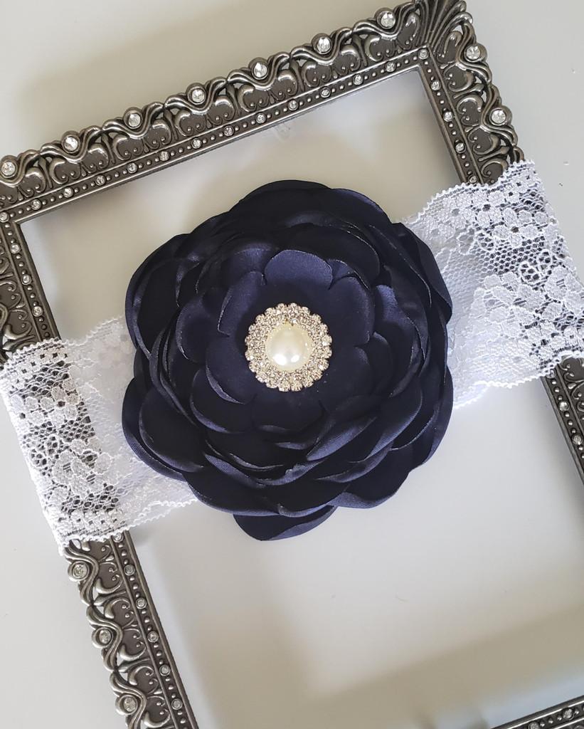 Mia Satin Flower on on Lace Headband with Rhinestone Adornment Hand Made