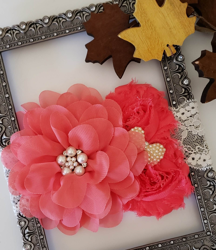 Triple Flower on on Lace Headband with Rhinestone Adornment Hand Made