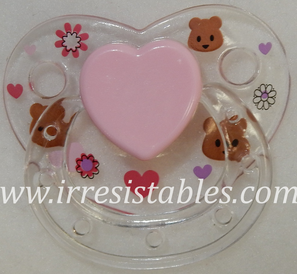 Magnetic Pacifier for Newborn and Toddler Dolls Clear with Flowers and Bears