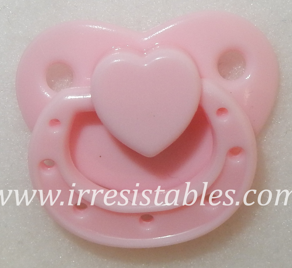 Magnetic Pacifier for Preemie Dolls Baby Pink with Heart