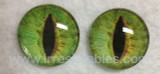 Fantasy Glass Cabochon Hand Printed Eyes Flat Back Light Green 5A