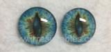 Fantasy Glass Cabochon Hand Printed Eyes Flat Back Blue Green 6G