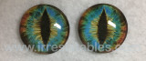 Fantasy Glass Cabochon Hand Printed Eyes Flat Back Brown Blue Green 7F