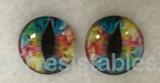 Fantasy Glass Cabochon Hand Printed Eyes Flat Back Rainbow Multi  2D