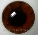 German Glass Eyes: Solid Half Round Flat Back Brown #32541