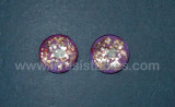 Fantasy Glass Cabochon Hand Painted Eyes Flat Back One of a Kind Purple Sparkle 18 MM