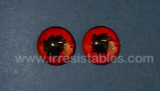 Fantasy Glass Cabochon Hand Painted Eyes Flat Back One of a Kind Red with Black 18 MM