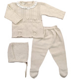 Spanish Knit 3 Piece Sweater Set in Linen by Ducle de Fresca-Madrid