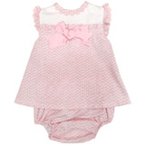 Pink white frilled dress with bow and knickers 3m