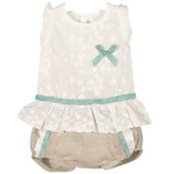 Sleeveless Blouse with Green Bow and Short 3m