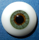 German Glass Eyes: Solid Half Round Flat Back Dark Green 32501