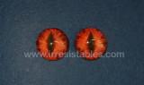 Fantasy Glass Cabochon Hand Printed Eyes Flat Back Red Burst 18 MM