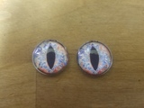 Fantasy Glass Cabochon Hand Printed Eyes Flat Back Blue Red 18 MM