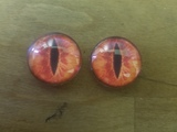 Fantasy Glass Cabochon Hand Printed Eyes Flat Back Red Orange Slit 18 MM