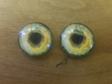 Fantasy Glass Cabochon Hand Printed Eyes Flat Back Greens 18 MM