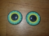 Fantasy Glass Cabochon Hand Printed Eyes Flat Back Black Lime 18 MM