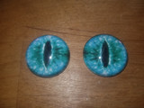 Fantasy Glass Cabochon Hand Printed Eyes Flat Back Turquoise Cat 20 MM