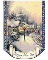 Thomas Kinkade Happy New Years Outdoor Decorative Flag