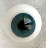 German Glass Eyes: Full Round Mouth Blown Blue Green