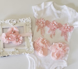 White and Pink 3 Piece Lace Onsie Set Including Flower Headband and Matching Party Socks Hand Made