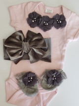 Dusty Pink and Gray 3 Piece Set Including Velvet Headwrap and Party Socks Hand Made