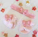 Newborn or Preemie Pink Party Socks Set with Light Pink Butterflies + Headband