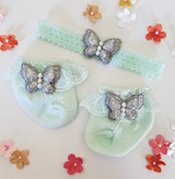Newborn or Preemie Mint Party Socks Set with Silver Butterflies + Headband