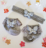 Newborn or Preemie Gray Party Socks Set with Silver Butterflies + Headband