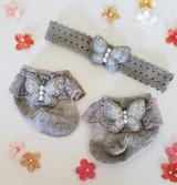 Newborn or Preemie Gray Party Socks Set with Silver Butterflies + Headband