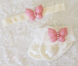 Newborn or Preemie Ivory Party Socks Set with Light Pink Butterflies + Headband