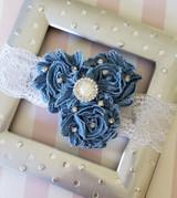 Denim Flowers Headband with Pearl and Rhinestone Adornents Handmade