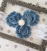 Denim Flowers Headband with Pearl and Rhinestone Adornents  Handmade