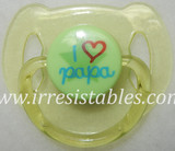 Magnetic Pacifier for Newborn and Toddler Dolls I Love Papa Yellow