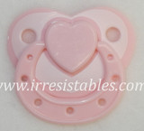 Magnetic Pacifier for Newborn and Toddler Dolls Pink Lace with Heart