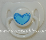 Magnetic Pacifier for Newborn and Toddler Dolls White with Blue Heart