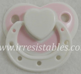 Magnetic Pacifier for Newborn and Toddler Dolls White Lace with Heart