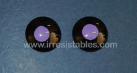Fantasy Glass Cabochon Hand Painted Eyes Flat Back One of a Kind Black Purple 18 MM