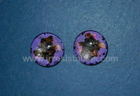Fantasy Glass Cabochon Hand Painted Eyes Flat Back One of a Kind Purple Black 18 MM