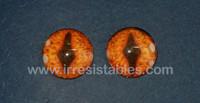 Fantasy Glass Cabochon Hand Printed Eyes Flat Back Burnt Orange 20 MM
