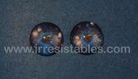 Fantasy Glass Cabochon Hand Printed Eyes Flat Back Galaxy Blue 18 MM