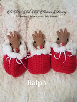 Ralf the Mini Reindeer by Jade Warner Solid Silicone Doll Head Unpainted with Cloth Pouch Body