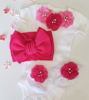 White and Fuchsia 3 Piece Onsie Set Including Flower Headband and Matching Party Socks Hand Made