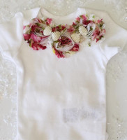Shabby Chic 3 Piece Onsie Set Including Headband and Party Socks Hand Made
